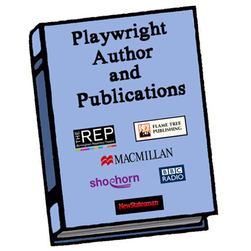 boook with the words on the cover reading playwright author and publications