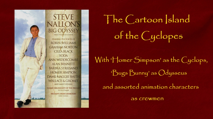 The Cartoon Island of the Cyclopes with Homer Simpson, Bugs Bunny and other animation character