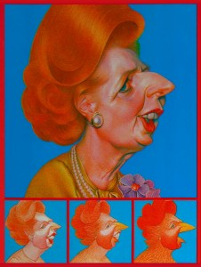 caricature-margaret-thatcher-as-a-chicken